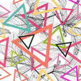 Leaves black contours, triangle Rainbow bright magenta pink orange blue modern trendy background. floral seamless pattern, hand-dr Stock Images