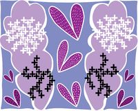 Large abstract lilac leaves flowers in white black patterns royalty free illustration