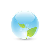 Leaves in blue bubble stock illustration