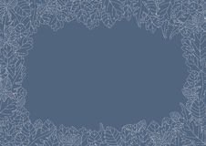Leaves border. Frame with illustration of many leaves in light blue and white. Vector Royalty Free Stock Images