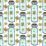 Leaves and bottles seamless pattern. Autumn background. Can be used for wrapping, textile, wallpaper and package design Stock Photography