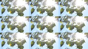 Leaves on a branch against a clear blue sky with sun shining, HD 1080. Multicam split screen group montage background. Abstract animation wall stock video footage