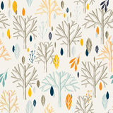 Leaves branches pattern in retro style Royalty Free Stock Photos
