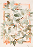Leaves on branches, watercolor painting Stock Photo