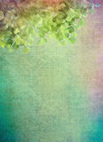 Leaves on the Canvas. Decorative grunge background with green leaves. Digital painting vector illustration