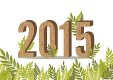 2015 leaves card. 2015 happy new year leaves card Royalty Free Stock Photography