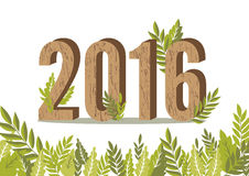 2016 leaves card, happy new year, vector illustration. 2016 leaves card, happy new year vector illustration Stock Photography