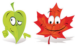 Leaves Cartoon Characters Stock Image