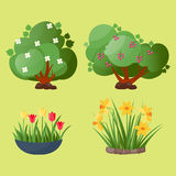 Leaves cartoon green tree vector summer leaf plant background Stock Photos