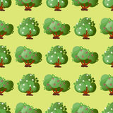 Leaves cartoon green trees seamless pattern vector summer leaf plant background Stock Photo