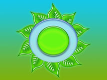 Leaves. In a circle on green background vector illustration