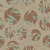 Leaves in circle print seamless repeating pattern royalty free illustration