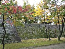 Leaves color change at Morioka Castle Ruins Park. Leaves color change at Morioka Castle Ruins Park in Japan stock photos
