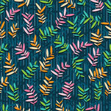 Leaves Colorful Blue Seamless Pattern_eps Royalty Free Stock Image