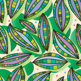 Leaves colorful happy seamless pattern Stock Images
