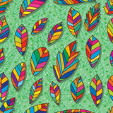 Leaves colorful seamless pattern Stock Photos