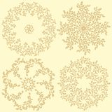 Leaves compositions. Set of 4 round decorative leaves compositions Stock Images