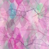 Leaves contours, bright pink purple lilac green modern trendy floral seamless pattern, hand-drawn. abstract background for site, b. Log, fabric. decorative Royalty Free Stock Photo