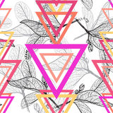 Leaves contours, triangle Rainbow bright magenta pink orange modern trendy floral seamless pattern, hand-drawn. Geometric abstract Royalty Free Stock Photo
