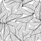 Leaves contours on white background. floral seamless pattern for fabric, wallpaper, pattern fills, web page background, surface te. Xtures. hand-drawn. Vector Stock Image