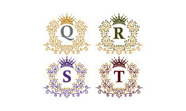 Leaves Crown Initial Q R S  T Stock Images