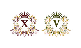 Leaves Crown Initial X V Stock Photo