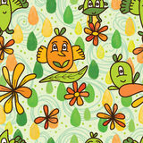 Leaves cute fairy green style seamless pattern Royalty Free Stock Image