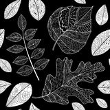 Leaves doodle. Black and white seamless pattern with autumn leaves. Use for wallpaper, pattern fills, web page background stock illustration