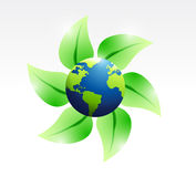 Leaves and eco globe illustration design Royalty Free Stock Images