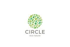 Leaves Eco Logo circle shape design vector template.Organic Natural Garden Park Logotype Stock Image