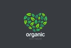 Leaves Eco Logo heart design. Organic Natural Gard stock illustration