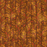 Leaves endless pattern with leaf and berry on wooden background. Leaves endless pattern with leaf and berry in brey and orange colors Royalty Free Stock Images