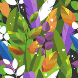 Leaves and feathers. Bright colorful floral background. Vector seamless pattern Stock Photography