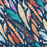 Leaves and feathers pattern. Seamless colorful graphic pattern of leaves and feathers stock illustration