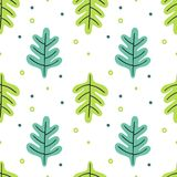 Leaves flat set. Seamless pattern Tropical plants isolated on white background. Nature simple green floral. Minimal style fantasy. Vector illustration vector illustration