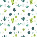 Leaves flat set. Seamless pattern Tropical plants isolated on white background. Nature simple green floral. Minimal style fantasy. Vector illustration royalty free illustration