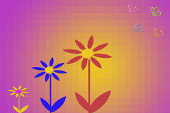 Leaves and flower. Autumn leaves with purple daisy Stock Photo