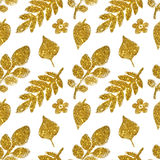 Leaves and flowers of golden glitter on white background, seamless pattern Stock Photos