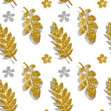 Leaves and flowers of golden and silver glitter on white background, seamless pattern Stock Photography