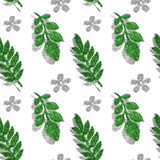 Leaves and flowers of green and silver glitter on white background, seamless pattern Royalty Free Stock Photos