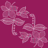 Leaves and flowers pattern hand drawn sketched  illustration. White on viola Royalty Free Stock Photography