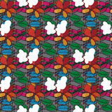 Leaves and flowers pattern hand drawn Royalty Free Stock Images