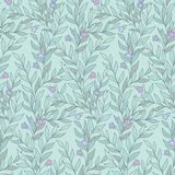 Leaves and flowers pattern. Simple twigs with leaves and tiny violet flowers on mint color background. Floral seamless pattern for your design and decoration Royalty Free Illustration