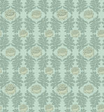 Leaves and flowers seamless background. Leaves seamless pattern on green background Stock Image