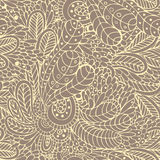 Leaves and flowers seamless pattern Stock Images