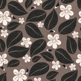 Leaves flowers seamless pattern Stock Images