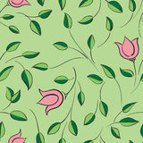 Leaves and flowers seamless pattern. Nature floral Royalty Free Stock Photography