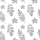 Leaves and flowers of silver glitter on white background, seamless pattern Royalty Free Stock Photos