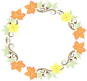 Leaves and Flowers Wreath royalty free illustration