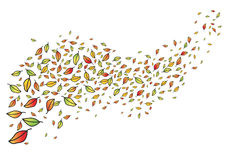 Leaves fly around in the wind, fall. Vector illustration Royalty Free Stock Photo